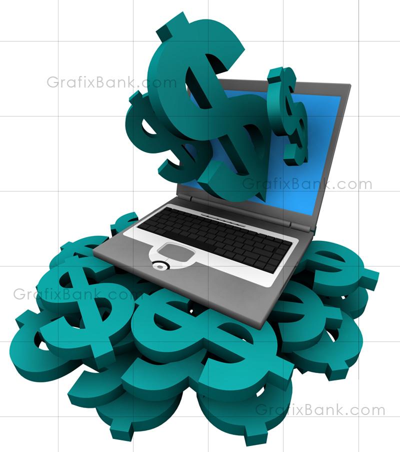 3D Marketing Graphics-Laptop PC on Money Pile
