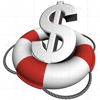 Royalty Free 3D Image of A Lifebuoy with US Dollar Sign