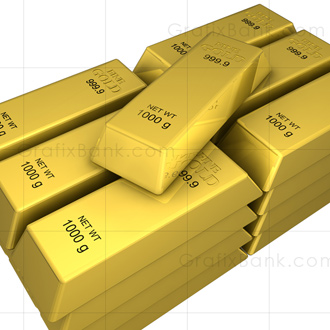 3D Marketing Graphics -Gold Bar Stack Royalty Free Image