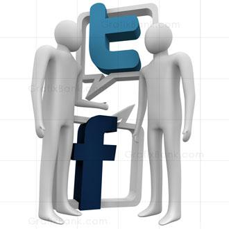 3D Marketing Graphics- Facebook & Twitter Logo Royalty Free Image