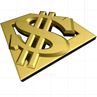 Golden Super Dollar Sign 3D Graphic
